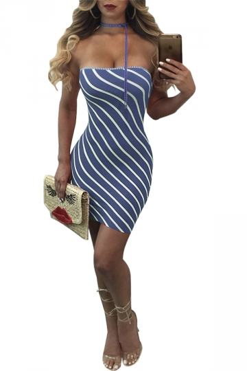 Women Sexy Off Shoulder Stripe Club Wear Bodycon Dress Blue
