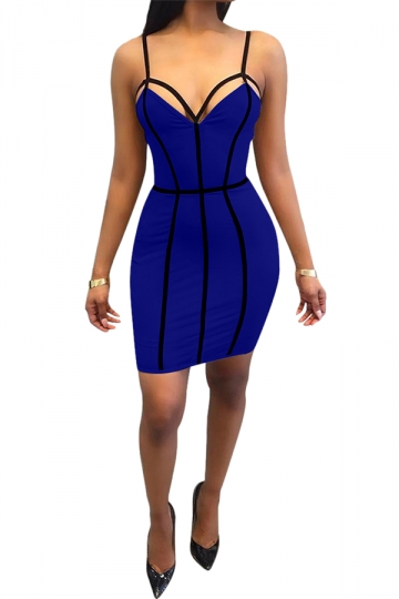 Women Sexy Strap Backless Bodycon Club Wear Dress Sapphire Blue