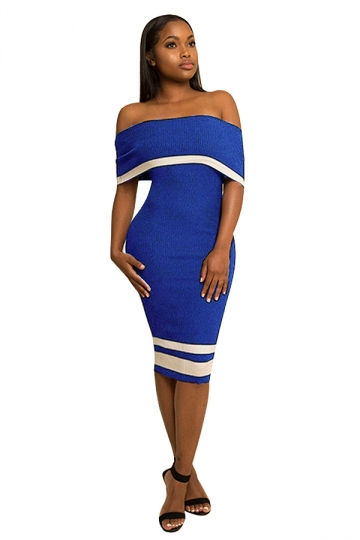 Women Sexy Off Shoulder Skinny Midi Bodycon Dress Blue