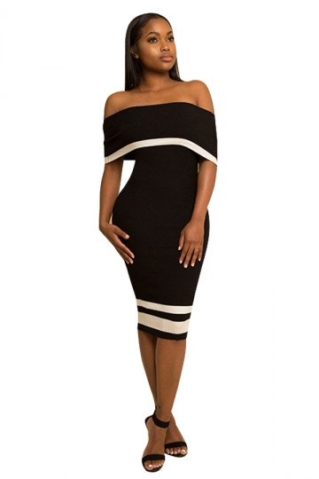 Women Sexy Off Shoulder Skinny Midi Bodycon Dress Black