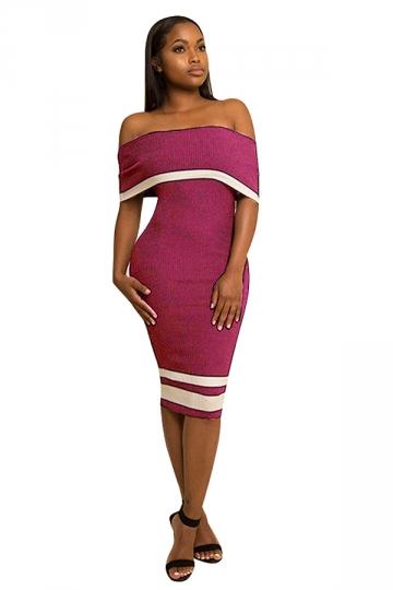 Women Sexy Off Shoulder Skinny Midi Bodycon Dress Purple