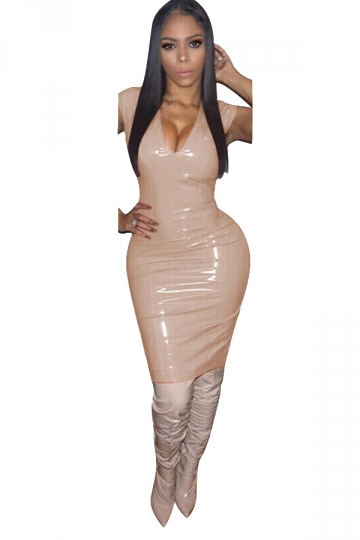 Women Sexy Solid Color V-Neck Skinny Bodycon Club Wear Dress Apricot