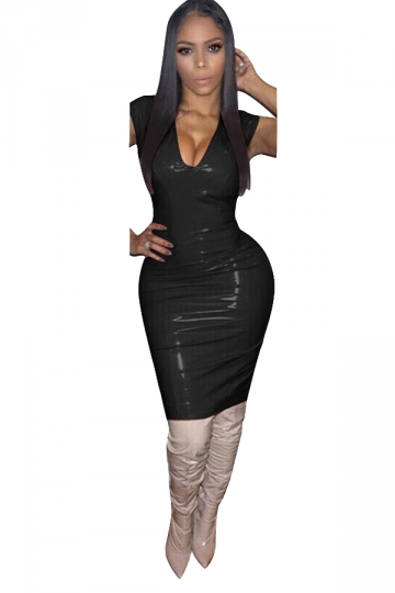 Women Sexy Solid Color V-Neck Skinny Bodycon Club Wear Dress Black