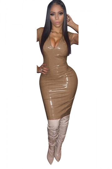 Women Sexy Solid Color V-Neck Skinny Bodycon Club Wear Dress Brown