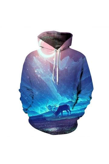 Antelope Galaxy Digital Printed Hoodie Blue