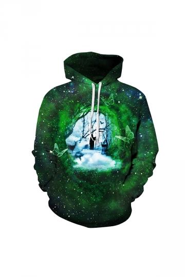 Galaxy Forest Digtal Printed Hoodie Green