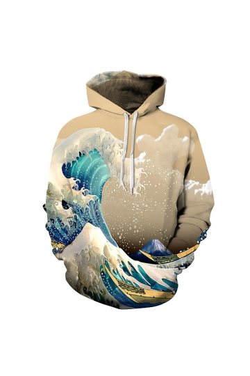 Kanagawa Wave Digital Printed Hoodie Khaki