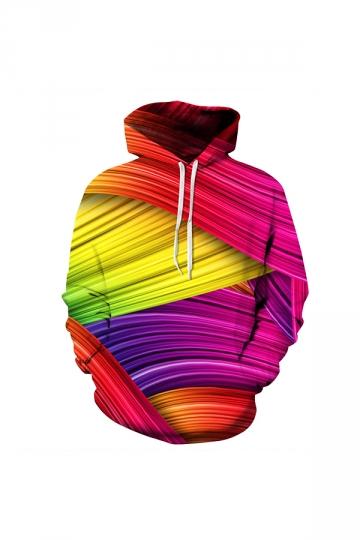 Rainbow Colors Digital Printed Hoodie Rose Red