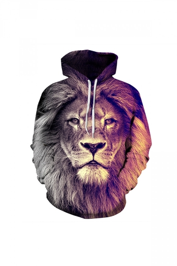Lion Digital Printed Hoodie Brown