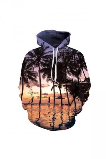 Beach Digital Printed Hoodie Orange