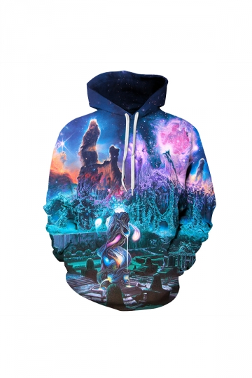 Garden Under The Pillars Of Creation Digital Printed Hoodie Turquoise