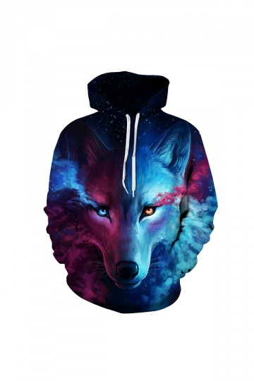 Galaxy Wolf Digital Printed Hoodie Blue