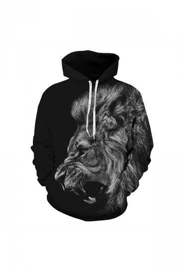 Animal Head Digital Printed Hoodie Black