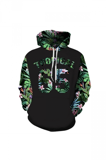 Tropical Leaves Digital Printed Hoodie Green