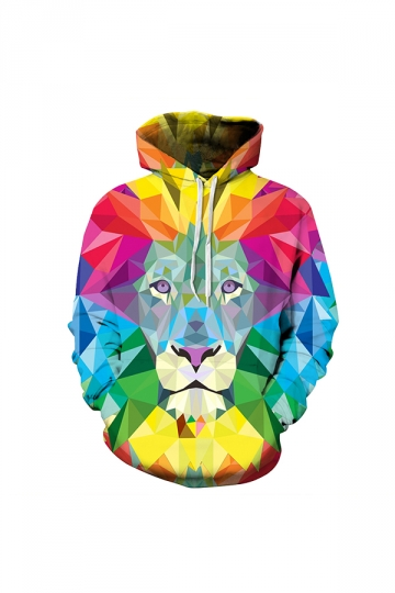 Colorful Lion Digital Printed Hoodie Yellow