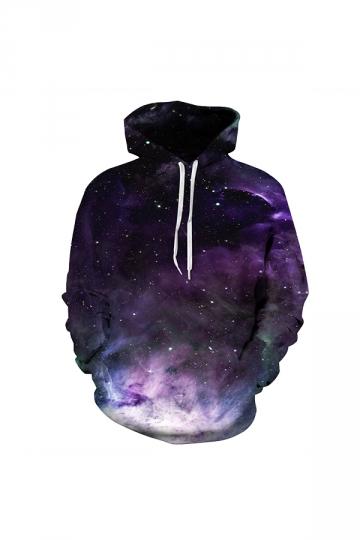 Galaxy Digital Printed Hoodie Purple