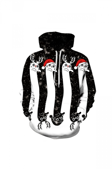 Digital Printed Snowy Christmas Hoodie White