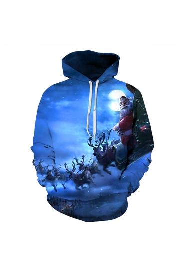 Digital Printed Santa Claus Christmas Hoodie Blue