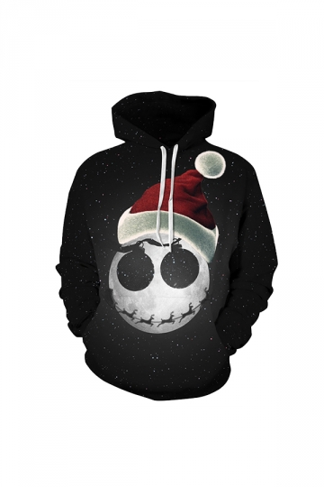 Digital Printed Galaxy Christmas Hoodie Black
