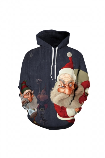 Digital Printed Santa Claus Christmas Hoodie Red