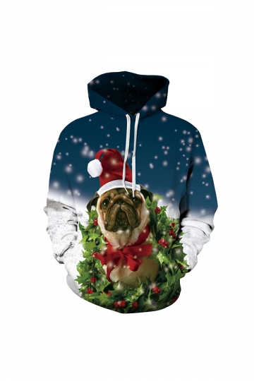 Christmas Dog Digital Printed Hoodie Blue