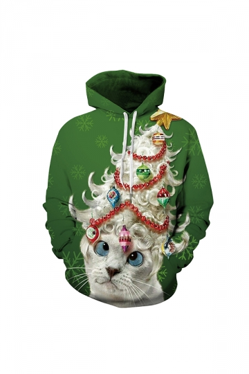 Cat Snowflake Digital Printed Christmas Hoodie Green
