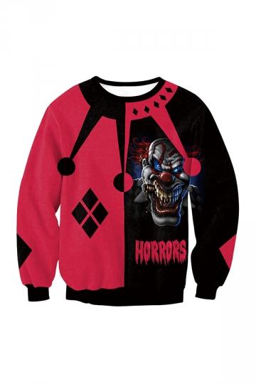 Twisty The Clown Harley Quinn Long Sleeve Halloween Sweatshirt Red