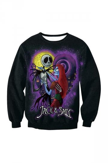 Jack And Sally Halloween Printed Sweatshirt Black