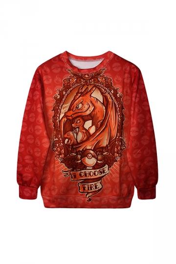 I Choose Fire Digital Printed Halloween Sweatshirt Red