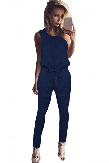 Women Casual Plain Sleeveless Lace Up Tank Jumpsuit Blue