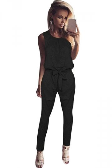 Women Casual Plain Sleeveless Lace Up Tank Jumpsuit Black
