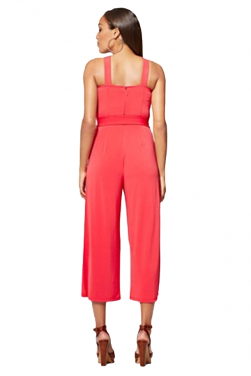 Women Sexy Solid Color Tie Waist Wide Legs Jumpsuit Watermelon Red