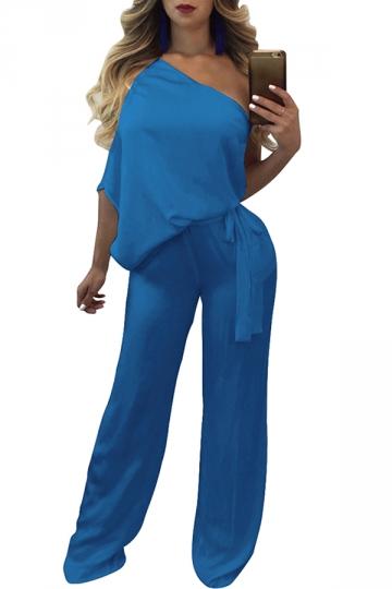 Women Sexy One Shoulder Wide Legs Belt Jumpsuit Blue