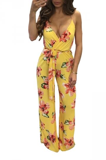 Women Sexy Strap Deep V Neck Printed Belt Wide Leg Jumpsuit Yellow