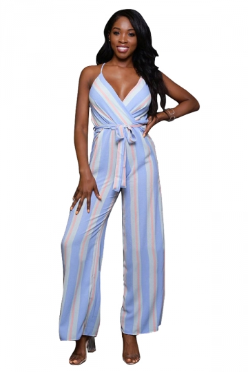 Women Sexy Strap Belt Stripes Printed Chiffon Jumpsuit Light Blue
