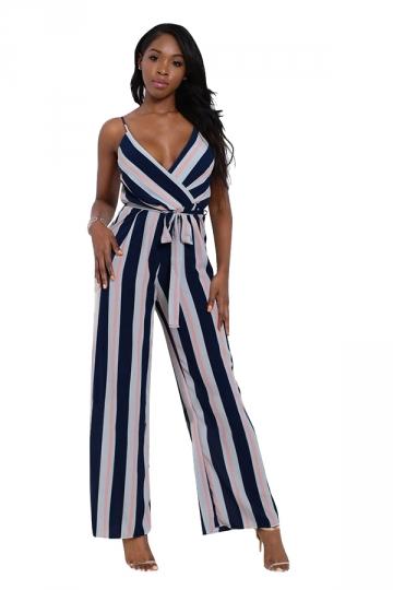 Women Sexy Strap Belt Stripes Printed Chiffon Jumpsuit Navy Blue
