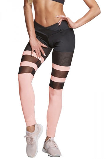 Women Sexy Mesh Patchwork Sports Wear Leggings Pink