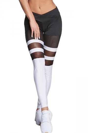 Women Sexy Mesh Patchwork Sports Wear Leggings White
