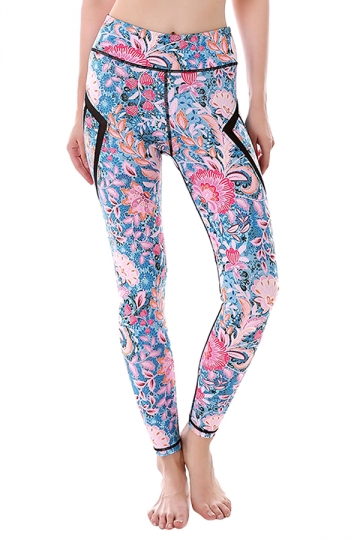 Womem Skinny Sheer Patchwork Patterns Sports Leggings Light Purple