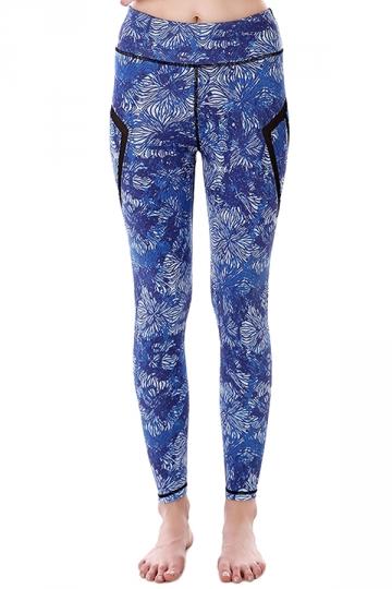 Womem Skinny Sheer Patchwork Patterns Sports Leggings Sapphire Blue