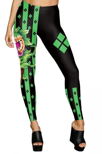 Women High Waist Harley Quinn Chomper Printed Halloween Leggings Black