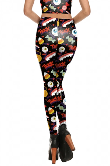 Women Pumpkin Candy Printed High Waist Halloween Leggings White
