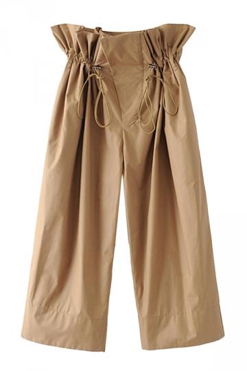 Women Casual Elastic High Waist Drawstring Wide Legs Capri Pants Khaki