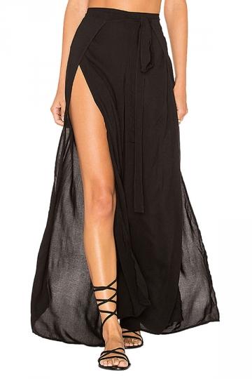 Women Sexy High Waist Slit Plain Wide Legs Leisure Pants Black