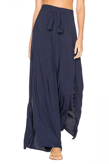 Women Sexy High Waist Slit Plain Wide Legs Leisure Pants Navy Blue