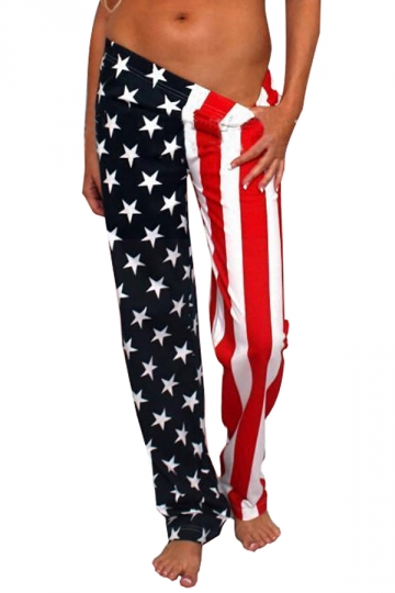 Women Casual Stars And Stripes Printed Loose Leisure Pants Red