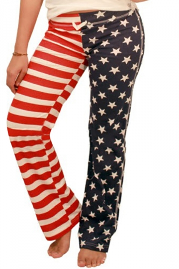 Women Casual Stars And Stripes Printed Loose Leisure Pants Navy Blue
