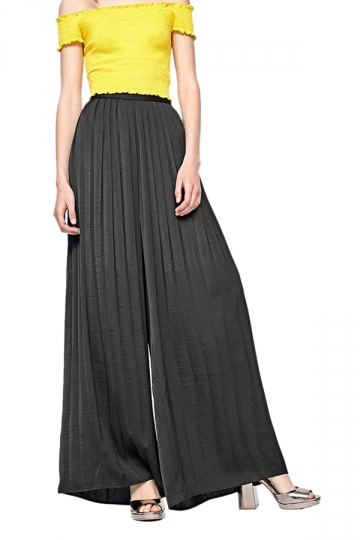 Women Casual Pleated Wide Leg Long Pants Black