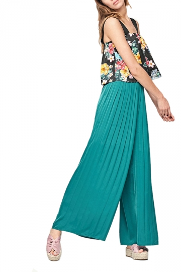 Women Casual Pleated Wide Leg Long Pants Green