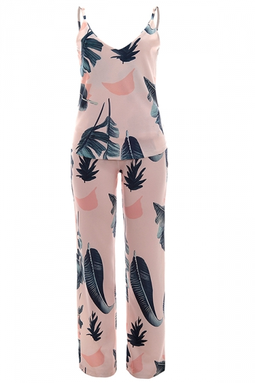 Women Adjustable Strap V Neck Printed Two Pieces Suit Pink